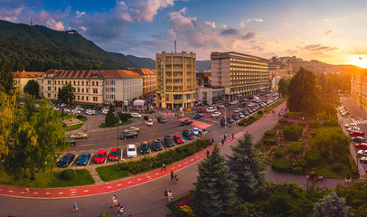 Brasov cityscape, panoramic and aerial view over medieval architecture of Brasov town from Transylvania, Romania Wall mural