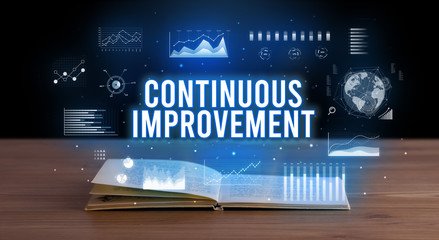 CONTINUOUS IMPROVEMENT inscription coming out from an open book, creative business concept