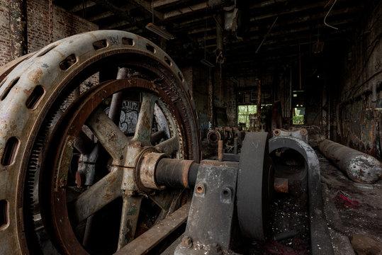Derelict Rusty Flywheel - Abandoned Ice Company - Baltimore, Maryland