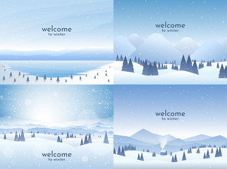 Vector illustration. Flat winter landscape. Simple snowy backgrounds. Snowdrifts. Snowfall. Clear blue sky. Blizzard. Winter season. Panoramic wallpapers. Set of backgrounds. Lonely house