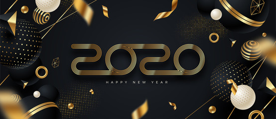 2020 new year logo. Greeting design with golden  number of year and black and gold abstract shapes. Design for greeting card, invitation, calendar, etc.