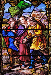 Appearance to the two disciples on their way to Emmaus , stained glass windows in the Saint Gervais and Saint Protais Church, Paris, France