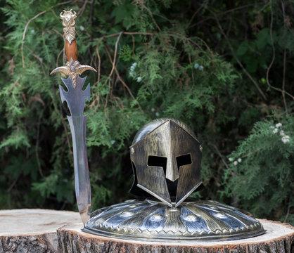 spartan helmet on a stump