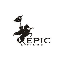 Horseback Knight Silhouette, Horse Warrior Paladin Medieval logo design with movie film cinema reel