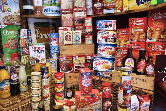 AMSTERDAM, NETHERLANDS - JULY 10, 2017: Selection of American sweets and food in a specialty international cuisine store in Amsterdam, Netherlands.
