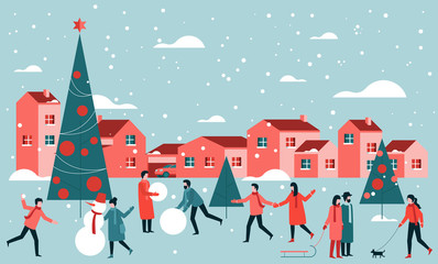 Men and women walking outdoor Christmas activities on the old town buildings background. Flat cartoon illustration