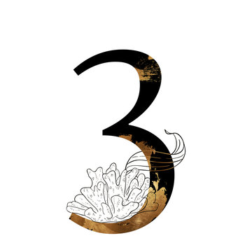 Elegant nautical numbers with golden texture, flowers and sea elements. Number 3. Illustration. Perfect for wedding monograms or logo.
