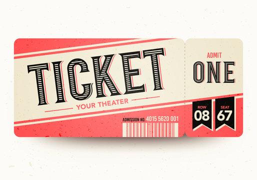 Vector Illustration Vintage Retro Cinema Admit One Tickets.