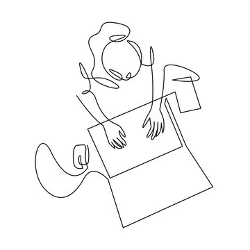 Woman using laptop top view continuous one line drawing. Female office worker, designer hand drawn character.