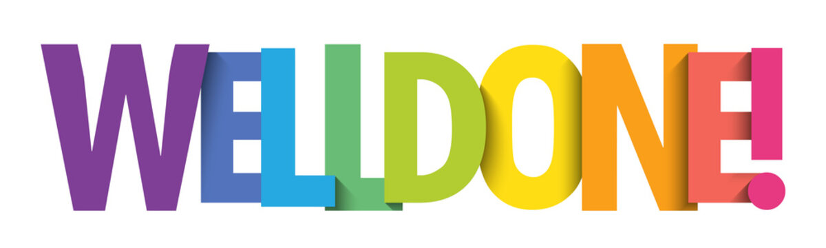 WELL DONE! colorful vector typography banner