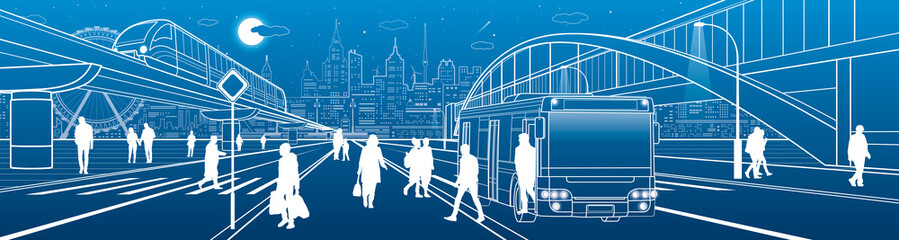 City scene, people walk down the street, passengers leave the bus, night city, Illuminated highway, transitional arch bridge on background. Train rides. Outline vector infrastructure illustration