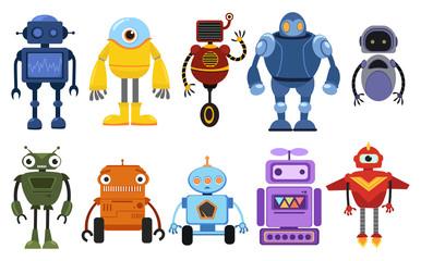 Set of cartoon robots. Collection of cute retro robots. Vector illustration of robotics for children.