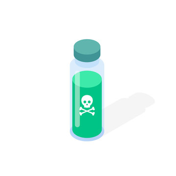 Poison isometric icon. Vector illustration.
