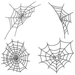 Set of cobwebs. Collection of black web silhouettes. Vector illustration of elements for halloween. Tattoo.