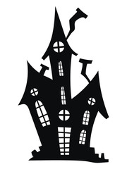 Obraz Silhouette of a mystical castle. Vector illustration of a haunted house for Halloween. Tattoo. - fototapety do salonu