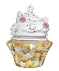festlicher Cupcake zu Weihnachten mit Christbaumkugeln. 3d rendering