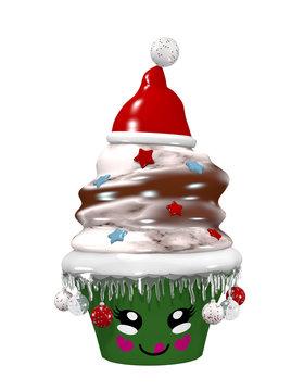niedlicher Cupcake zu Weihnachten mit Christbaumkugeln und lächelndem Gesicht. 3d rendering auf weiß isoliert