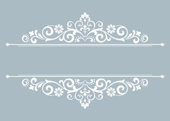 Vintage blue element. Graphic vector design. Damask graphic ornament