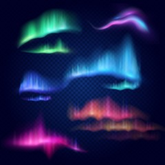 Northern lights, aurora borealis, vector isolated illustration