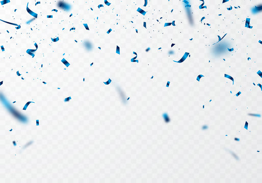 The blue ribbon and confetti can be separated from a transparent background for decorating various festivals.