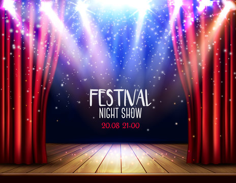 A theater stage with a red curtain and a spotlight. Festival night show background. Vector.