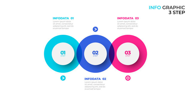 Business infographic template. Process chart concept with paper 3 steps, options and circles. Vector illustration.