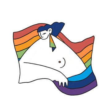 Person Inside LGBTQ Rainbow Pride Flag