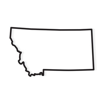 black outline of Montana map- vector illustration
