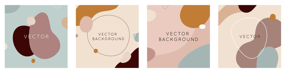 Vector set of abstract creative backgrounds in minimal trendy style with copy space for text - design templates for social media stories and posts Wall mural