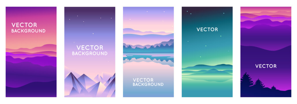 Vector set of abstract backgrounds with copy space for text and bright vibrant gradient colors - landscape with mountains and hills  - vertical banners and background for  social media stories, banner
