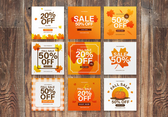 Orange Fall Social Media Post Layout Set