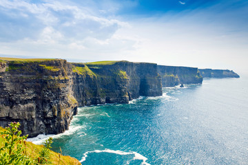 Spectacular Cliffs of Moher are sea cliffs located at the southwestern edge of the Burren region in County Clare, Ireland. Wild Atlantic way Wall mural