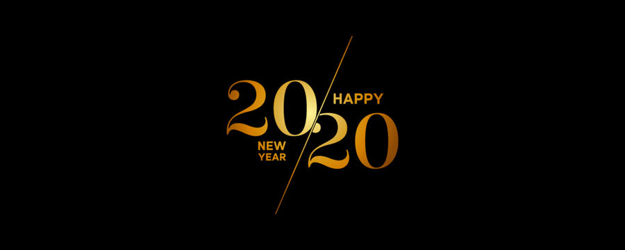 2020 Logo Happy New Year Background. Brochure Design Template, Poster, Card, Banner. Vector Illustration.