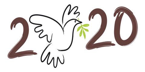 Illustration au trait d'une colombe avec un rameau d'olivier, pour souhaiter une année 2020 sous le signe utopique de la paix dans le monde.