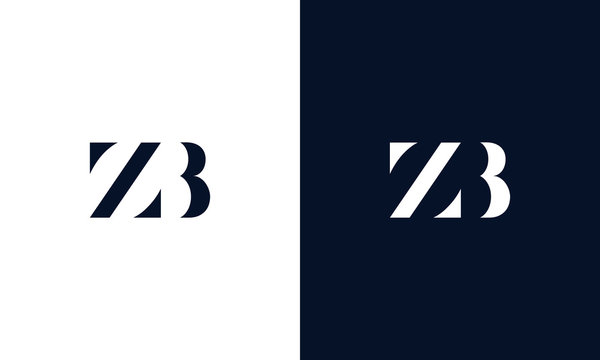 Minimalist abstract letter ZB logo. This logo icon incorporate with two abstract shape in the creative way.