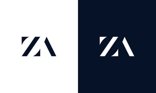 Minimalist abstract letter ZA logo. This logo icon incorporate with two abstract shape in the creative way.