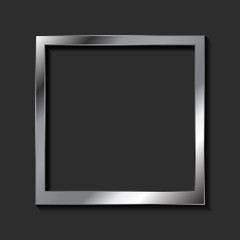 Vintage realistic metallic blank instant photo frame. Abstract dark background with silver framework. Vector polaroid style imitation
