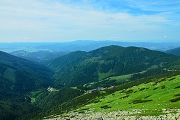 Slovakia-view of the cableway, station Kosodrevina under the peak of Chopok in the Low Tatras