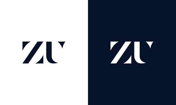 Minimalist abstract letter ZU logo. This logo icon incorporate with two abstract shape in the creative way.