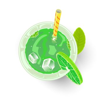 Green beverage in glass with ice cubes, straw and lime. Alcoholic cocktail or mocktail for St. Patrick s or Earth day party. Sparkling Shamrock, Irish Eyes, Emerald Isle drink. Top view. Vector.