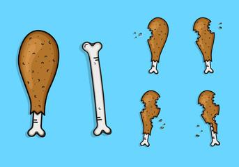 Sketch of frame of chicken thigh eaten, animation chicken food, bone of chicken thigh