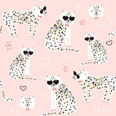 Wzór z ręcznie rysowane geparda. Kreatywne dziecięce modne tekstury na tkaniny, opakowania, tekstylia, tapety, ubrania. ilustracja - 291744080