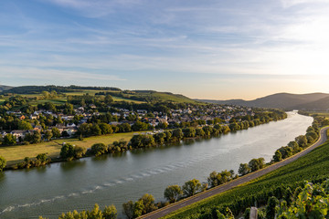 Panoramablick auf das Moseltal mit dem Weinort Brauneberg im Hintergrund an einem sonnigen Herbsttag