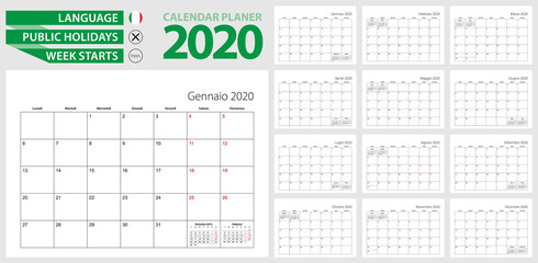 Italian calendar planner for 2020. Italian language, week starts from Monday. Vector calendar template for Italy, Switzerland, San Marino and other.