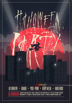 Halloween party poster flyer template with night city landscape and red moon on background. Vector illustration.