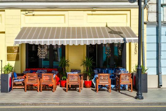 The facade of a cozy restaurant or street cafe