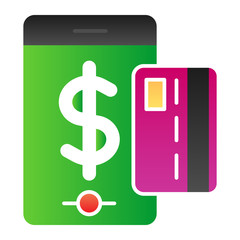 Mobile pay service flat icon. Mobile payment color icons in trendy flat style. Smartphone and credit card gradient style design, designed for web and app. Eps 10.