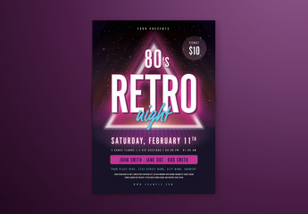 Purple Neon Retro Event Flyer Layout with Triangle
