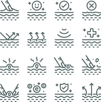 Skin Care Vector Line Icon Set. Contains such Icons as Moisturizing, Acne, Dermatology, Vitamin, Skin care and more. Expanded Stroke