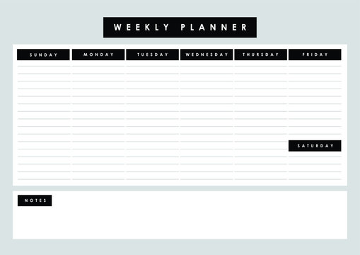 Printable weekly planner with sunday start to do vector